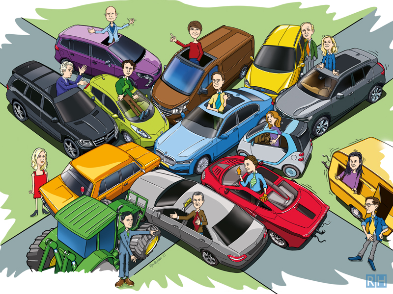 cartoon-illustratie Ford Mustang-puzzle