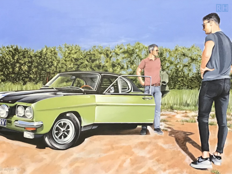 schilderij Me, my youngest son and my capri